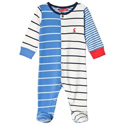 Tom Joule Ziggy Printed Footed Baby Body Whitby Blue Stripe
