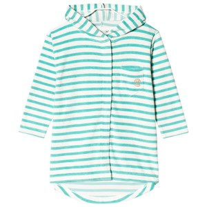Image of ebbe Kids Bard Bathrobe Off White and Ice Turquoise 104 cm (3019036099)