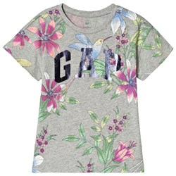 GAP Floral Print Logo T-Shirt Heather Grey