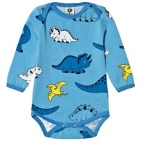 Småfolk Air Blue Dino Print Baby Body 701