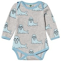 Småfolk Grey Mix Seal Print Baby Body 236