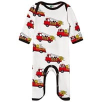 Småfolk Cream Fire Truck Print One-Piece 199