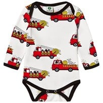 Småfolk Cream Firetruck Print Baby Body 199