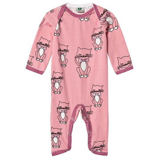 Småfolk Pink Cat Print One-Piece 502