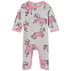 Småfolk Grey Horses Print One-Piece