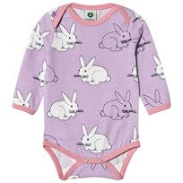 Småfolk Purple Rabbit Print Baby Body Lavender