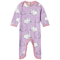 Småfolk Purple Rabbit Print One-Piece Lavender