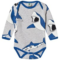 Småfolk Grey Mix Shark Print Baby Body 236