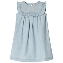 Noa Noa Miniature Denim Light Blue Dress with Frilled Trim Denim Light Blue