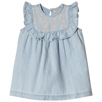Noa Noa Miniature Denim Light Blue Baby Dress with Frilled Trim Denim Light Blue