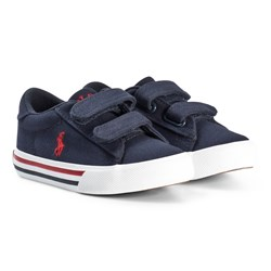 Ralph Lauren Navy Canvas with Red Pony Velcro Trainers