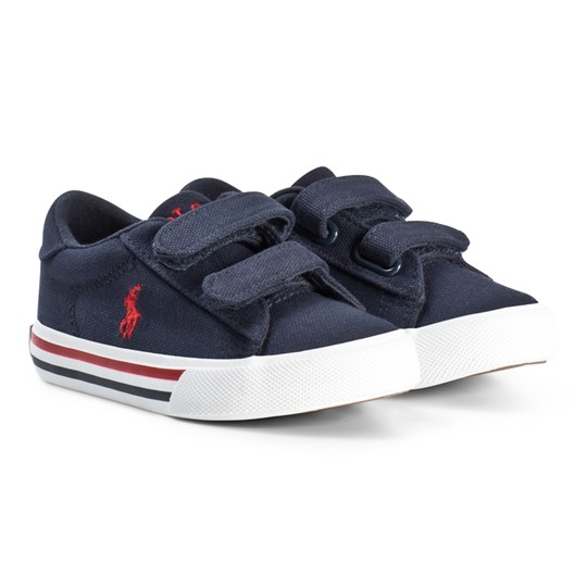 Ralph Lauren Navy Canvas with Red Pony Velcro Trainers Navy