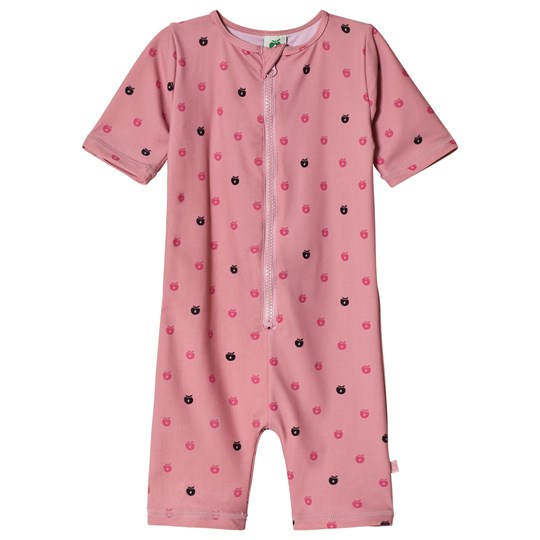 Småfolk Pink Apple Print Sun Suit Blush