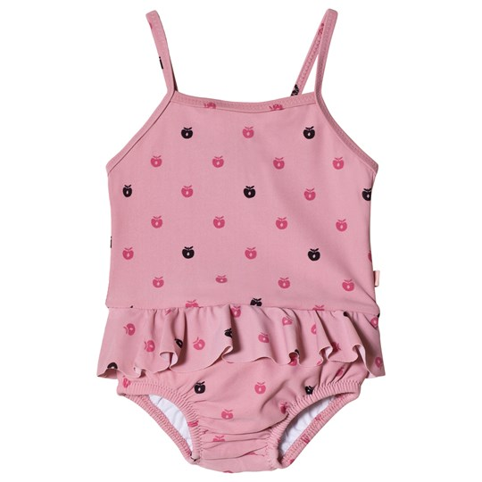 Småfolk Pink Apple Print Diaper Swimsuit Blush