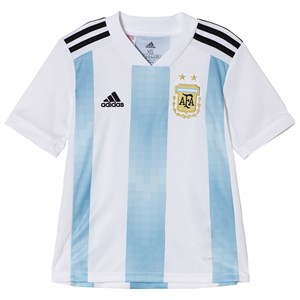 Image of Argentina National Football Team Argentina 2018 World Cup Home Top White and Blue 11-12 Years (3021546841)