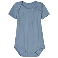 Noa Noa Miniature Short Sleeve Baby Body with Pointelle Pattern Faded Denim Faded Denim