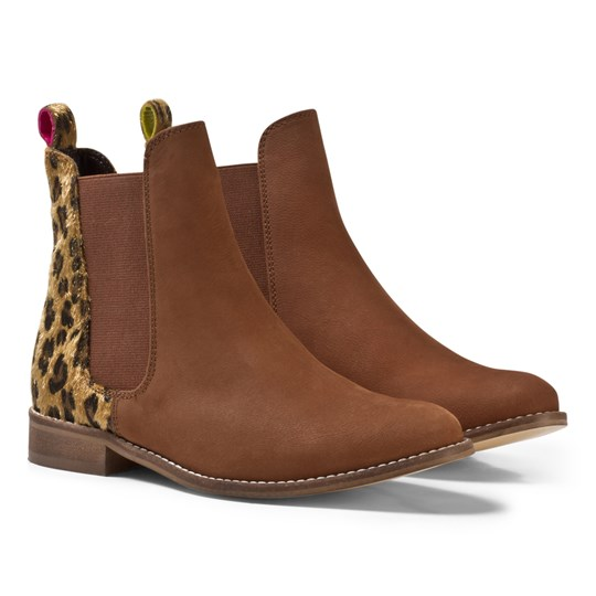 Tom Joule Tan and Leopard Suede Chelsea Boots Leopard