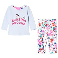 Tom Joule Pale Blue Glitter Horse Print Tee and Floral Leggings Set SKY BLUE HORSE