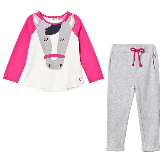 Tom Joule Pink and Cream Horse Applique Tee and Trousers Set TURE BIG HORSE