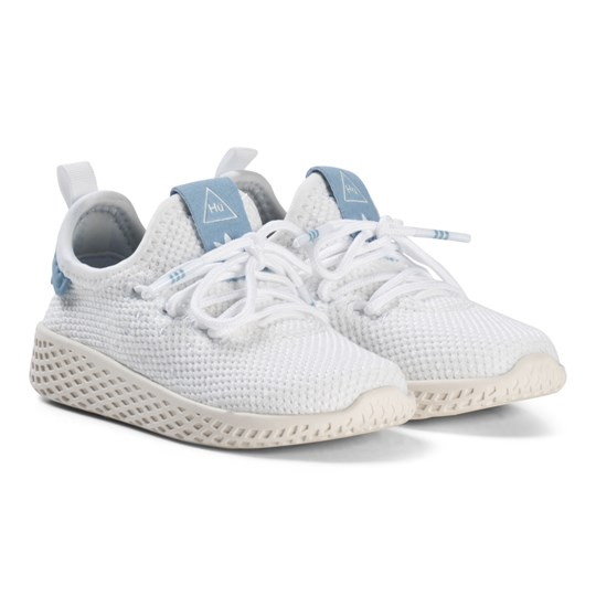 adidas Originals White and Ash Blue Pharrell Williams Tennis HU Infants Shoes White