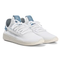 adidas Originals White and Ash Blue Pharrell Williams Tennis HU Junior Shoes White