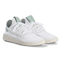 adidas Originals White and Ash Green Pharrell Williams Tennis HU Junior Shoes White