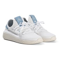 adidas Originals White with Blue Pharell Williams Kids Tennis Trainers White
