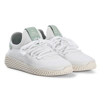 adidas Originals White and Ash Green Pharrell Williams Tennis HU Kids Shoes White