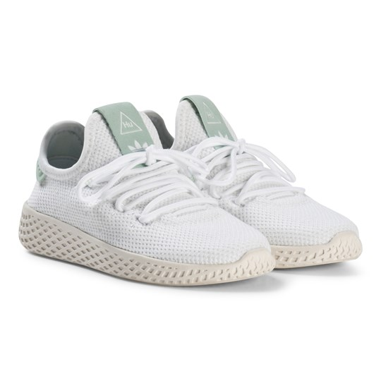 e54dd18ae4886 adidas Originals White and Ash Green Pharrell Williams Tennis HU Kids Shoes  White