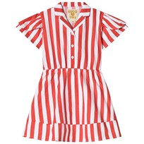 Hugo Loves Tiki Petal Sleeve Dress White With Red Stripe White w/Red Stripes