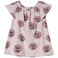 Hugo Loves Tiki Terry Ruffled Dress Pink Sea Shells Pink/Purple w/Pink Seashells Graphic AOP