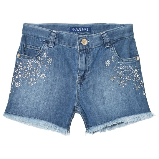 Guess Blue Denim Shorts with Jeweled Details MEDW