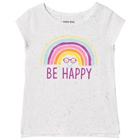Lands End White Be Happy Rainbow T-shirt HZJ