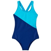 Lands End Tropical Turquoise Combo Colorblock Swim Swimsuit AII