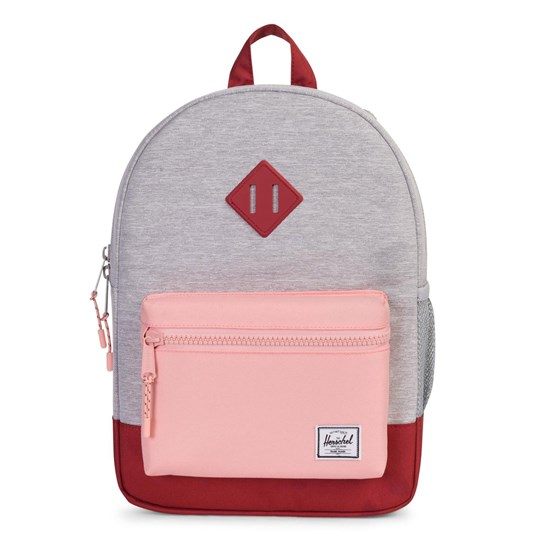 Herschel Heritage Youth Backpack in Light Grey Crosshatch/Peach/Brick Light Grey Crosshatch/Peach/Br
