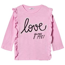 Guess Pink Frill Front Love Guess Tee