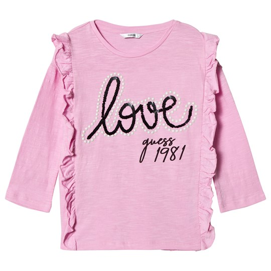 Guess Pink Frill Front Love Guess Tee G414
