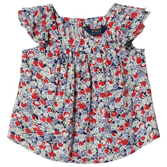 Ralph Lauren Red and Blue Floral Sleeve Top 002