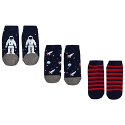 GAP Space No-Show Socks 3-Pack Navy and Red