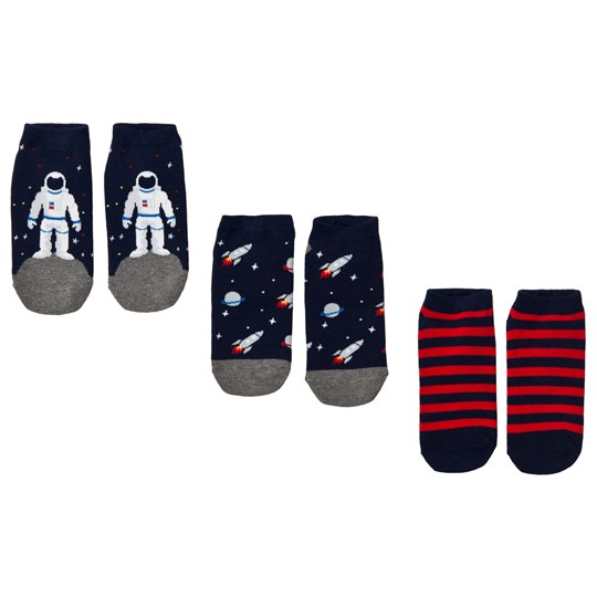 GAP Space No-Show Socks 3-Pack Navy and Red Outer Space