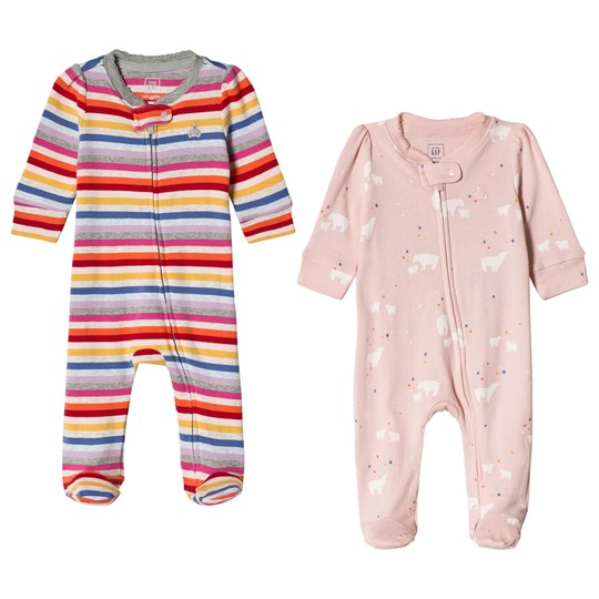 GAP Stripe and Printed Footed Baby Body 2-Pack Crazy Stripe