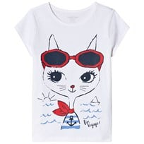 Lands End Travel Kitten Graphic Tee White 8BH
