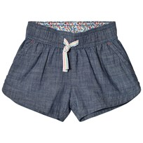 Lands End Chambray Pull On Shorts Light Indigo Blue ZVO