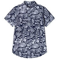 Lands End Botanical Print Skjorta Deep Sea 7MD