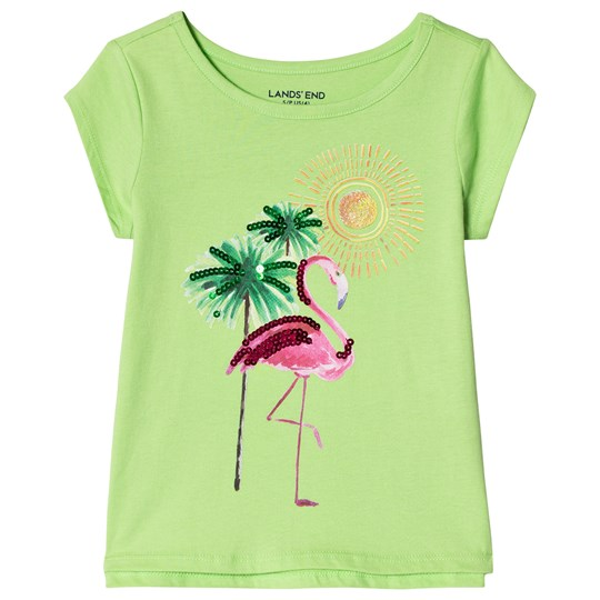 Lands' End Flamingo Oasis Embellished Graphic Tee Green 8BE