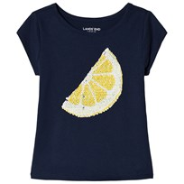 Lands End Lemon Lime Embellished Graphic T-shirt Marinblå M91