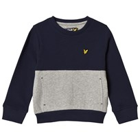 Lyle & Scott Navy and Grey French Terry Sweater Marinblå