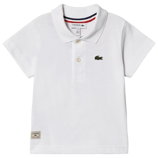 Lacoste White Ribbed Collar Polo 001