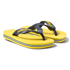 Image of Havaianas Yellow and Navy Flip Flops 25/26 (UK 8/8,5, BR 23/24) (521965)