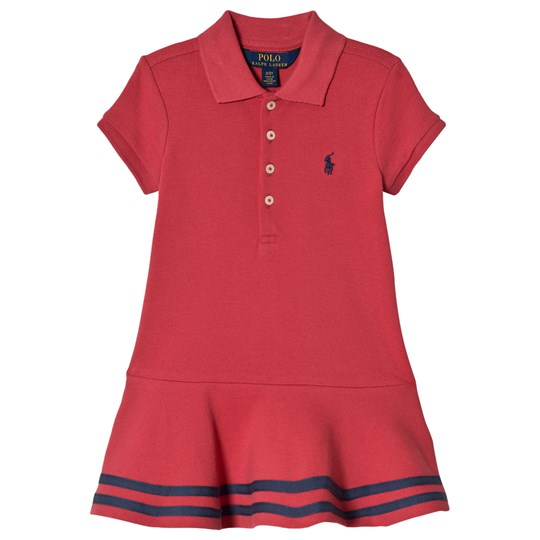 Ralph Lauren Red Polo Dress with Stripe Hem 001